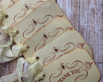 Vintage Inspired Thank You Tags/ Rustic Thank You Tags/ Coffee Stained Tags/Thank You Tags/All Occasion Gift Tags/Set of 6