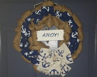 Nautical Wreath,Coastal Wreath, Burlap Wreath, Summer Wreath, Beach Wreath, Beach House Decor, Front Door Wreath, Beach House Decor,