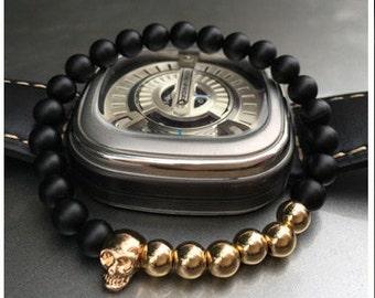 Gold Plated Skull Agate Bracelet