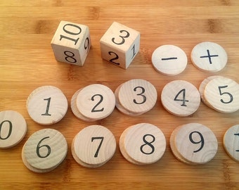 Math / Practice Math Set / Wooden Math Set / Educational Game / Numbers / Math Busy Bag / Counting / Learning Numbers / Hands On Learning