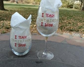 Wine Glasses, Barware, Personalized Wine Glass, Vinyl Lettering, Ready to Ship, Unique gift