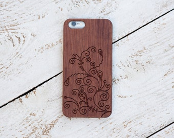 Wood Case, iPhone 8, iPhone X, 7, 7 Plus, 6s, 6 6 Plus, 5s, 5, SE, Samsung Galaxy S8, S7, S6, Cover, Engraved #4009