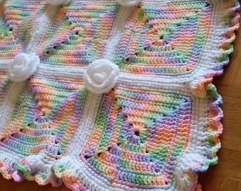 Multi-colored Handmade Crocheted Blanket