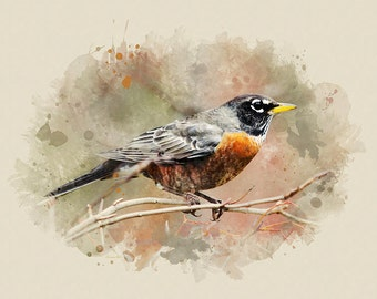 American Robin, Bird Art, Wildlife Print, Fine Art Print, Nature Art, Large Wall Hanging, Watercolor Print, Bird Prints, Watercolor Bird