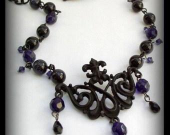 SALE 50% OFF - Decadent Darkness -  Gothic Noir Neo-Victorian Beaded Necklace in Black & Purple
