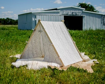 Kids Play Tent - Grey and White - A Frame Fold Up Tent - Woodland Nature - Rustic Modern - Gender Neutral - Photo Prop