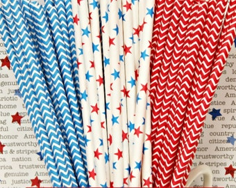 Paper Straw, 25 Oh My Stars Paper Straw Party Mix, Red, White and Blue Straws, July 4TH Party, Fourth Of July, Patriotic Party, Drink Straws