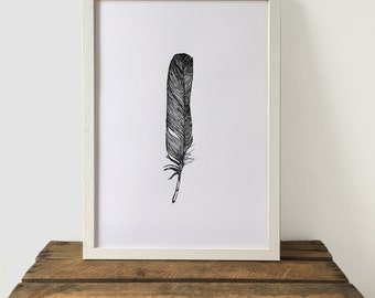 Black and White Feather Print, Black and White Print, 29.7 cm x 42 cm, A3 Art Print, Feather Print, Screen Print, Gift Idea, Print