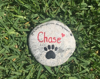 Pet Memorial Stone, Large Custom Pet Memorial Stone, Hand Painted Garden Stone