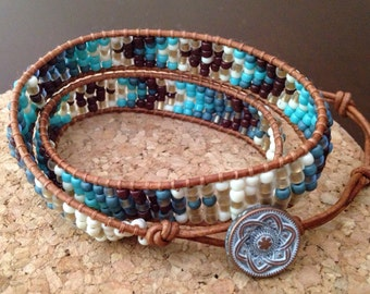 Turquoise and Brown Double Wrap Bracelet, Beaded Leather Wrap Bracelet, Brown and Blue Wrap Bracelet