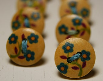 Lovely blue flowers button thumb tacks / push pins - 1 set of 8