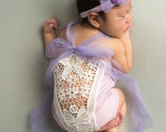 Newborn Posing Prop, Lilac Newborn Onesie, Photography Prop, Ready to Ship, Antique Lace Back, Beaded Stretch Lace Front