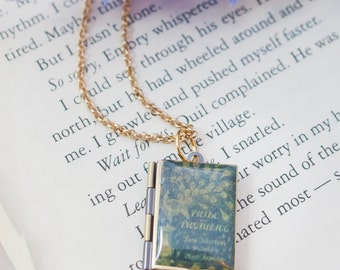 Pride and Prejudice Brass Book Locket Necklace - Bookish Gift - Book Lover Gift - Book Jewelry - Book Nerd