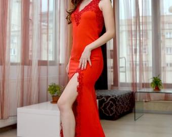 Long slit evening dress