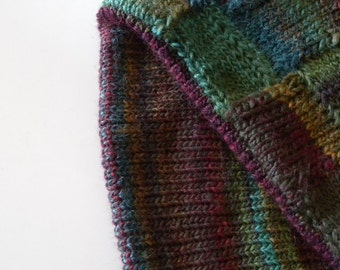 Warm winter cowl, green and brown, hand knitted, double layer, two sides, woollen cowl, fashion accessory, square pattern, warmth in winter