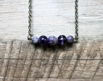 """Genuine Amethyst and Antiqued Brass Necklace 