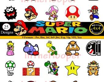 SUPER MARIO EMBROIDERY Designs Pes, Hus, Jef, Dst, Exp, Jef+, Vip, Vp3, Xxx Ariel, Cinderella, Jasmine, Snow White