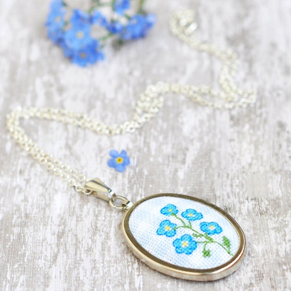 Forget me not necklace flower boho jewelry bright statement