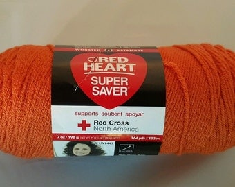 Red Heart Super Saver CARROT Yarn 7 oz Worsted Weight 4