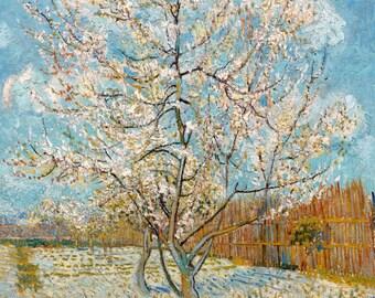 Vincent van Gogh 1888, Peach Trees in Blossom, HD Canvas Print or Art Print, Artwork Wall Poster Impressionism Print on Canvas Van Gogh