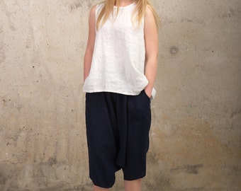 Womens Linen Top - White Top - Oversized Top with buttons - Tank Top - Loose Fit Top - Plus Size Linen - Natural Linen Top