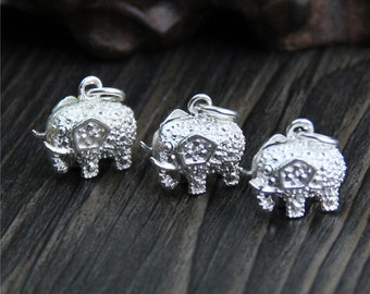 Solid 990 Sterling Silver Elephant charm, Bright silver elephant charm, hollow elephant pendant, elephant jewelry