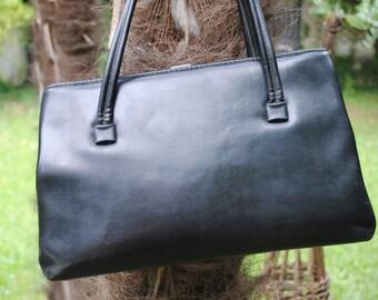 Black leather large bag /1960s