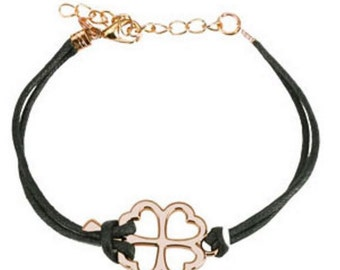 Bracelet-Clover Cast Iron Leather With Lobster Claw Clasp Bracelet-Choice of Color-SL0200- HW-Free shipping to USA