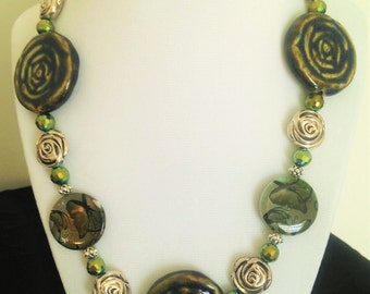 Roses and Butterflies Necklace