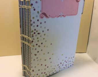 5x7 Pink and gray blank scrapbook album photo book, polka dot journal, notebook, sketchbook, writting journal, diary, flower floral