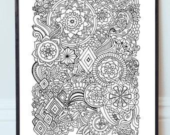 Printable Mandala Zentangle Coloring Page