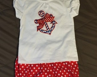 4th of July Toddler Girls Shirt and Bloomer Shorts Set Anchor, Red Dot Navy Chevron