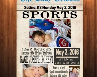 Sports Themed Newborn Annoucement, Newspaper Annoucement, New Baby Annoucement, Sports Annoucement, Baby Boy Annoucement