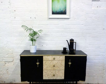 Revamped (upcyled) vintage 1950s mid century modern black, gold and teak sideboard with gold glitter drawers