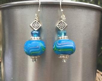 Drop beaded dangle earrings turquoise