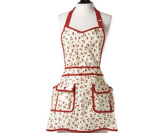 cherry print apron / 1950s retro vintage style / waterproof