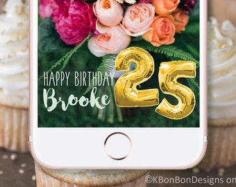 Birthday Snapchat Geofilter // On Demand Filter - Custom & Personalized - Gold Balloons
