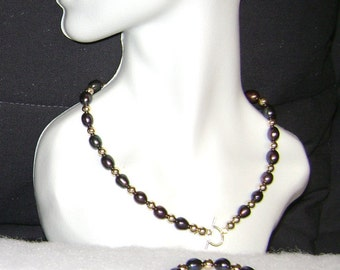 Black Freshwater Pearl and Gold Filled Necklace Set