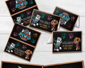 Paw Patrol Tent Cards, Paw Patrol Birthday, Tent Cards, Paw Patrol Party, Printable Tent Cards MA-005-10
