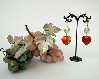 earrings  silver with pearls and heart of carnelian