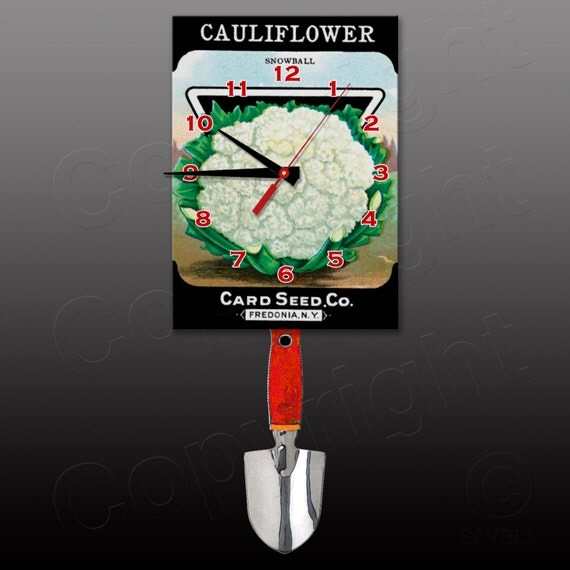 Cauliflower Seed Package Clock with Swinging Trowel Pendulum • Gardener's Clock
