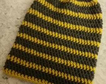 Gray and Yellow Striped Crochet Slouchy Beanie ~Ready to Ship!~