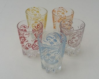 Retro Set of Five French Shot Glasses 1960's Vintage Glasses