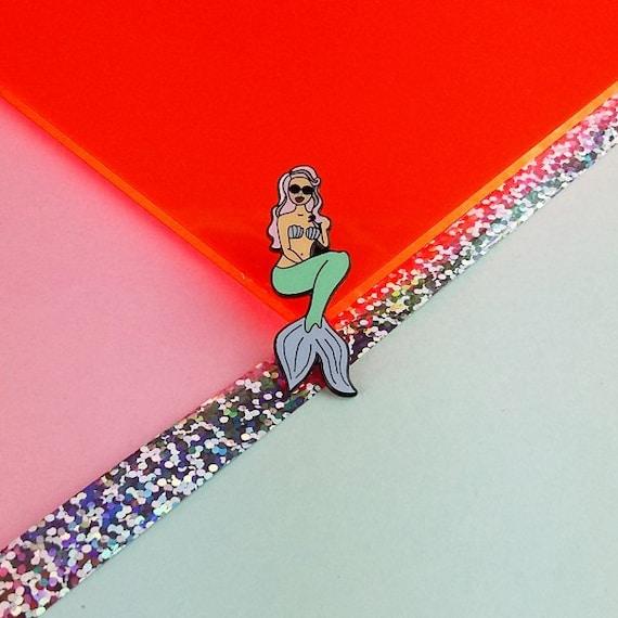 Mermaid Pin - you must be a mermaid, Hard Enamel Pin, Lapel Pin, Cloisonne, Flair, Girlpower