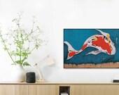Koi Fish, 50 X 70 cm, 50 X 70 Poster, Nautical Print, Nautical Decor, Wall Art, Animal print, Wall Decor, Sea Life, Fine Art Print, #511fsh