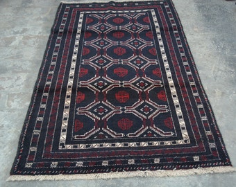 6'7 x 3'7 Foot Vintage Oriental Baluch Rug Tribal Rug Nomadic Rug