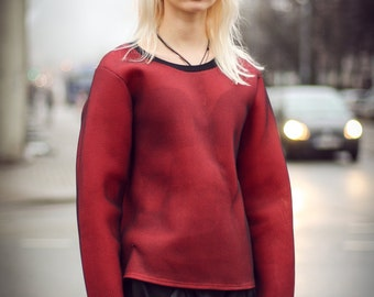 Red Neoprene Sweatshirt