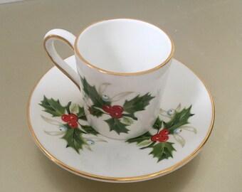 Royal Grafton Fine Bone China (England) Christmas Holly Espresso Cup and Saucer