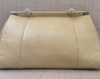 Judith Lieber cream leather evening clutch with rhinestone accents, wow!