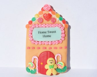 Home sweet home magnet - Clay Gingerbread house magnet - gingerbread man magnet - gingerbread magnet - clay cute magnet